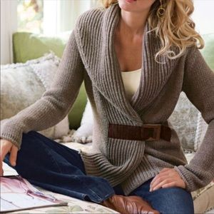 Soft Surroundings brown wool knit belted sweater S